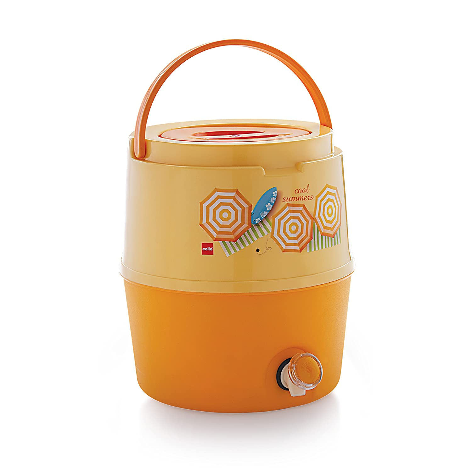 Cello Kool Star Plastic Insulated Water Jug, 15 litres, Orange