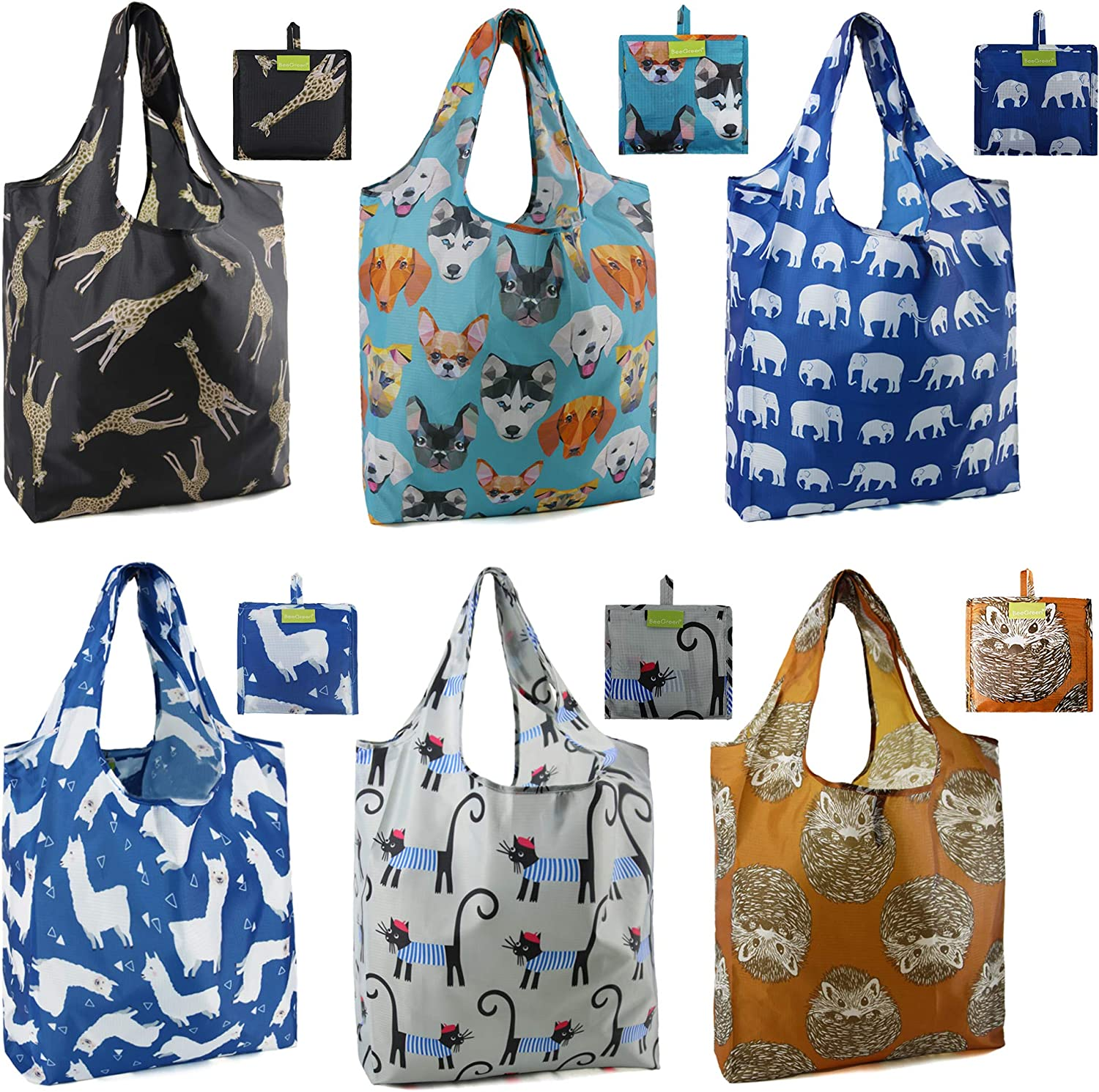 BeeGreen Reusable Grocery Bags Cute Dog Shopping Bags X-Large Durable Machine Washable Ripstop Foldable Bags with Pouch 6 Pack Hedgehog Elephant Cat Giraffe Alpaca