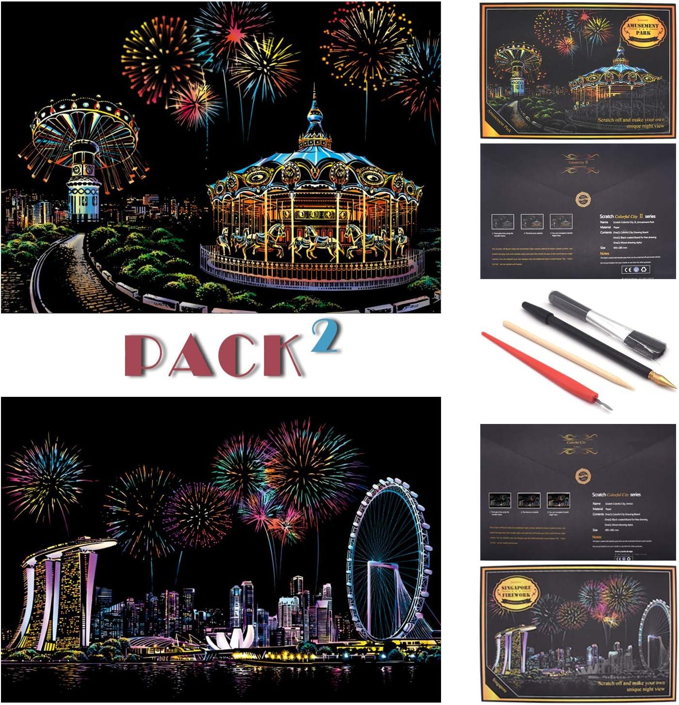 SiYear Boceto Scratch Paper Rainbow Painting, City Series Night Scene, Scratch Painting Creative Gift, Scratchboard Art para Adultos y niños, con 4 Herramientas (Parque de Atracciones + Singapur)