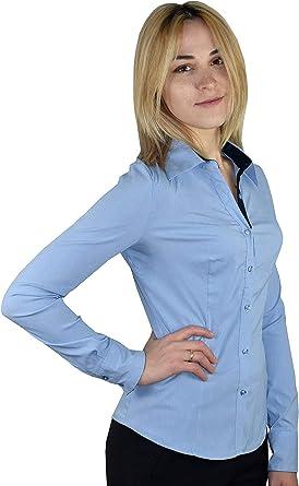 1stAmerican Camisa Mujer de Manga Larga Stretch - Blusa con Contraste Interior de Muñeca y Botones: Amazon.es: Ropa y accesorios