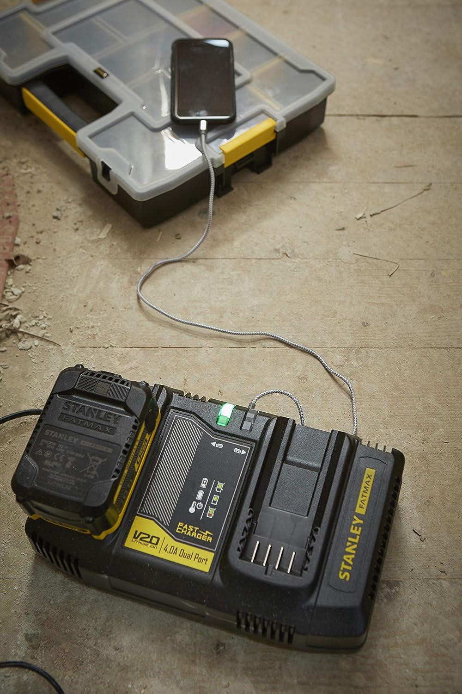 Stanley SFMCB24-QW Chargeur rapide /à deux voies SFMCB24 18 V, 4 A, 2 chargements parall/èles, s/érie de batteries FatMax V20, livr/é sans piles, 1 pi/èce