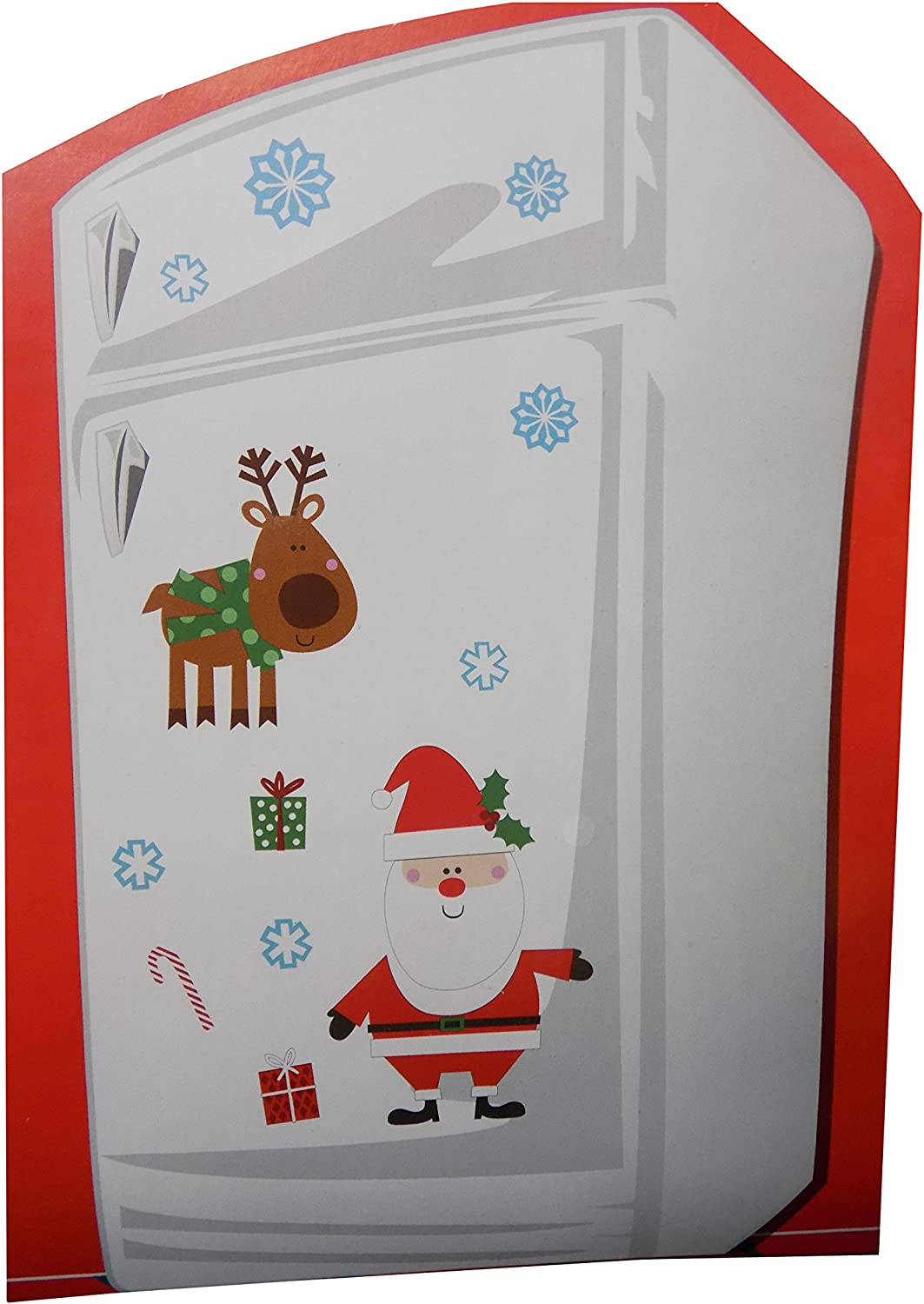 Christmas Themed Magnet Decoration Set for Refrigerator or Metal Door (Santa Claus with Reindeer)