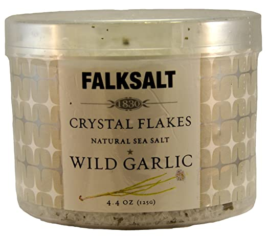 Falksalt Crystal Flakes Natural Sea Salt Wild Garlic 4.4 Oz
