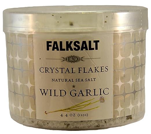 Falksalt Crystal Flakes Natural Sea Salt Wild Garlic 4.4 Oz