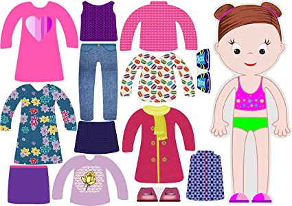 Game Set Series Little Fashionista`s Magnetic Dress-Up Doll with 15 Pieces of Clothing Amelia