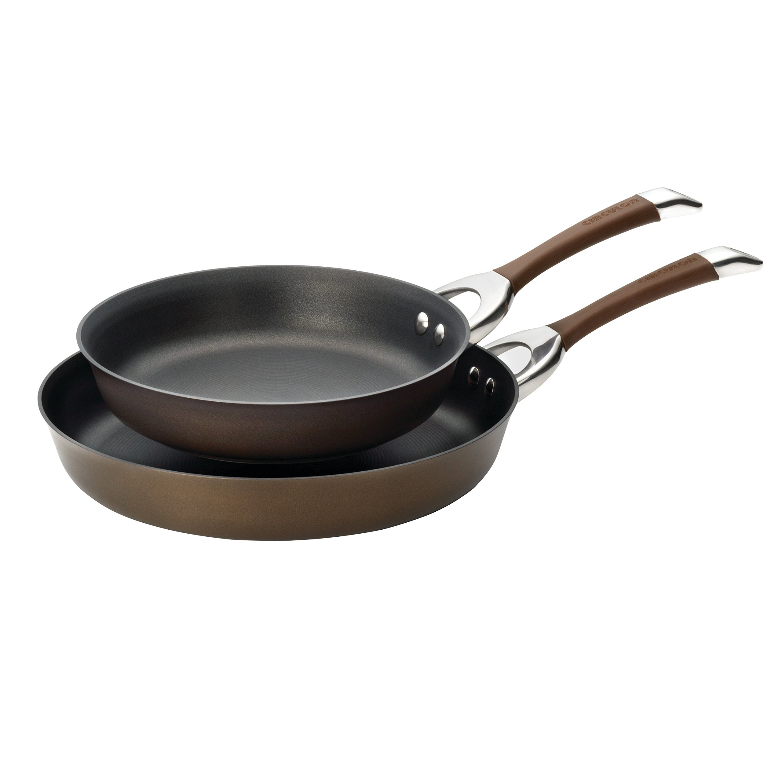 Circulon Symmetry Hard-Anodized Nonstick 10-Inch and 12-Inch French Skillets, Chocolate by Circulon