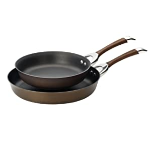 Circulon Symmetry Hard-Anodized Nonstick 10-Inch and 12-Inch French Skillets, Chocolate