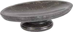 """Creative Home Natural Charcoal Marble Bar Tray on Pedestal Soap Dish Holder for Bathroom Countertop, 4"""" x 6-1/4"""" x 1.5"""" H, Dark Grey"""