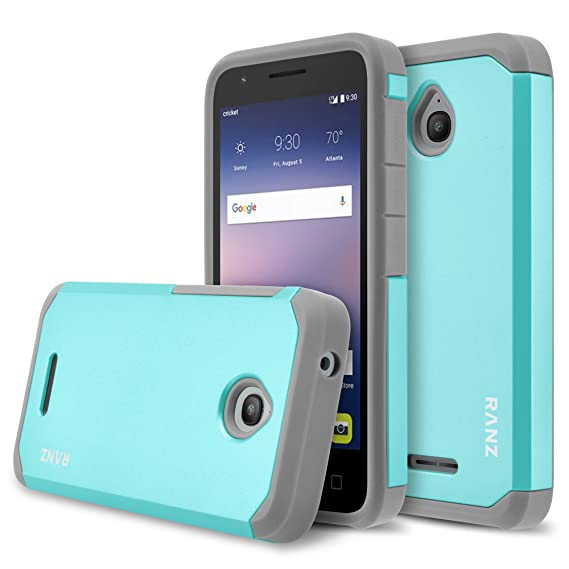 on sale 8632c 50851 Amazon.com: Alcatel Ideal Case, RANZ Grey with Aqua Blue Hard Impact ...