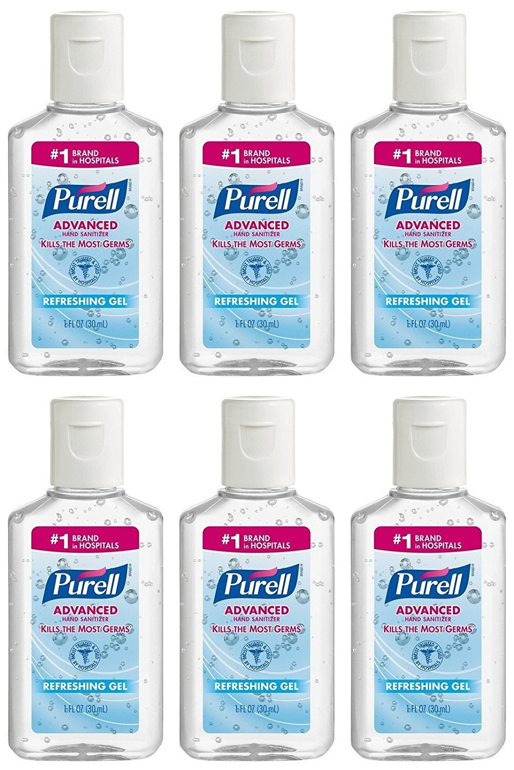 Purell Advanced Hand Sanitizer Refreshing Gel, 1 Fl oz (6-Pack)