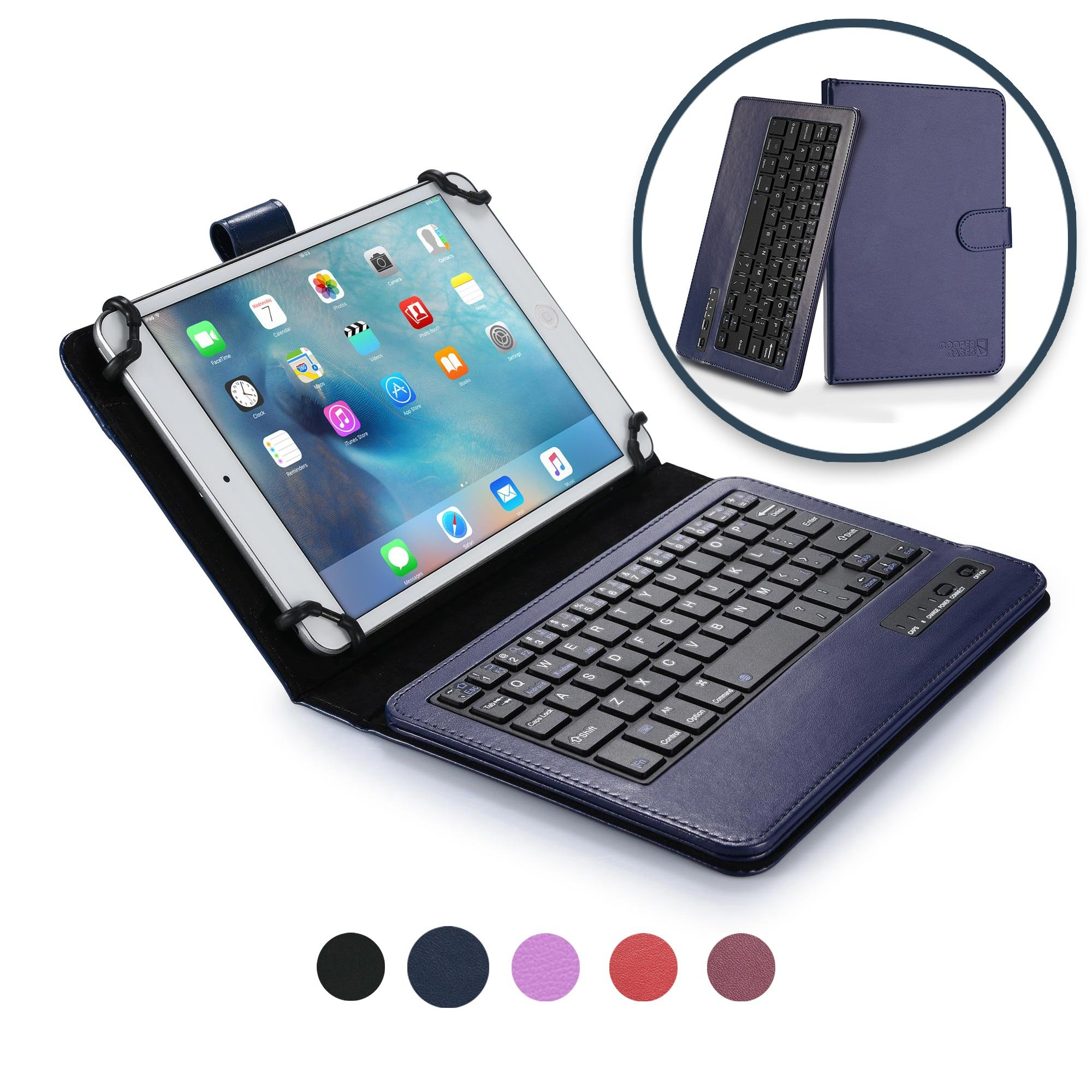 Cooper Infinite Executive Keyboard case for 7'' - 8'' inch Tablets | 2-in-1 Bluetooth Wireless Keyboard & Leather Folio Cover | Universal Fit, Stand, Vegan Leather, 100HR Battery, 14 Hotkeys (Blue)