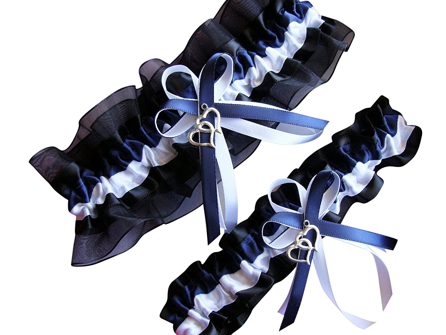 "Size Around 24"" GTG61 NEW Navy Blue White Black Wedding Garter"