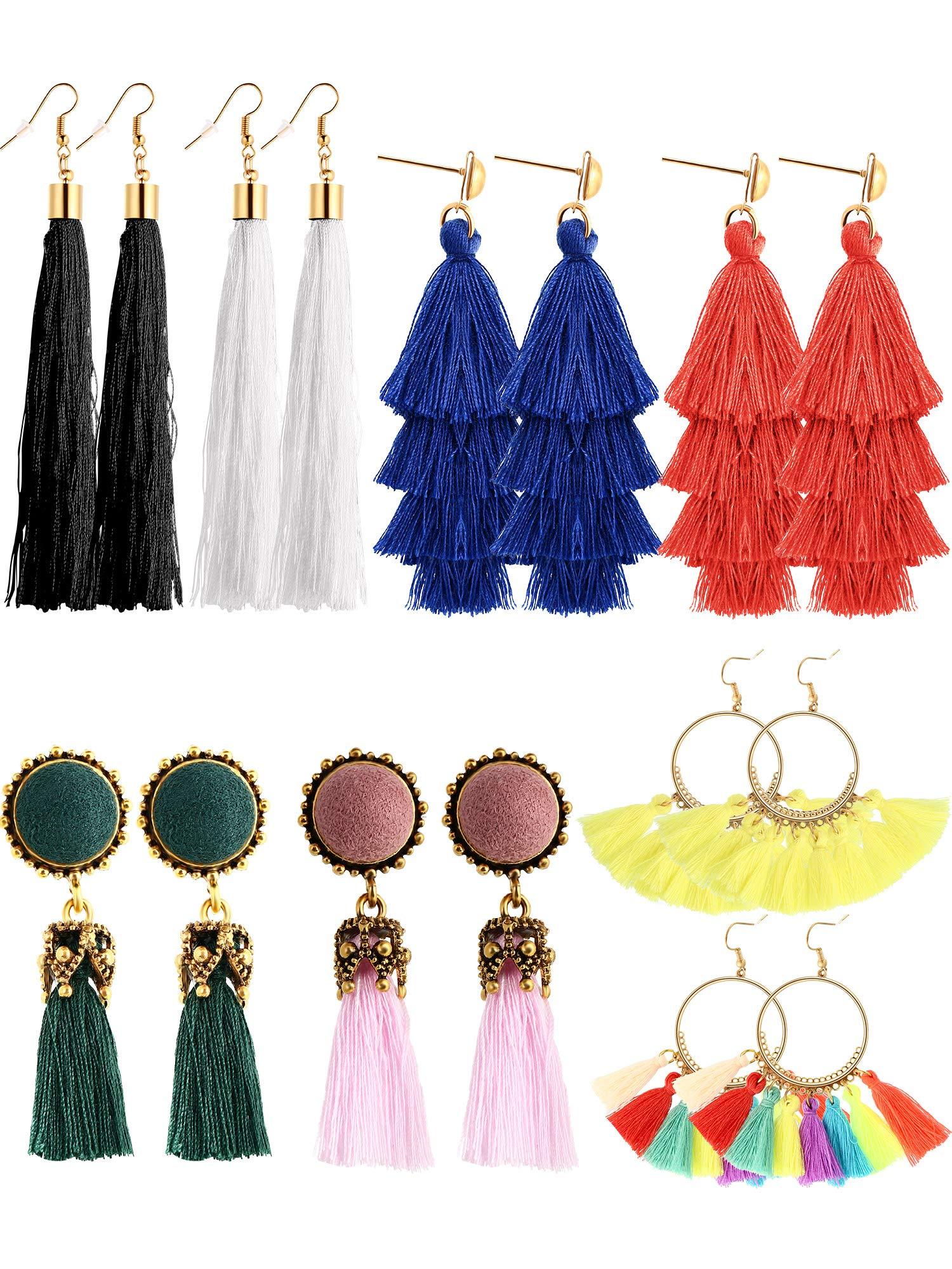 Tatuo 8 Pairs Tassel Earrings Thread Tassel Dangle Earrings Tiered Dangle Earrings Fringe Drop for Women Girls, 4 Styles and 8 Colors