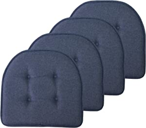"""Sweet Home Collection Chair Cushion Memory Foam Pads Tufted Slip Non Skid Rubber Back U-Shaped 17"""" x 16"""" Seat Cover, 4 Pack, Denim Blue"""