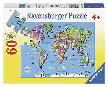 Ravensburger world map puzzle 60 piece floor puzzles amazon canada ravensburger world map puzzle 60 piece gumiabroncs Choice Image
