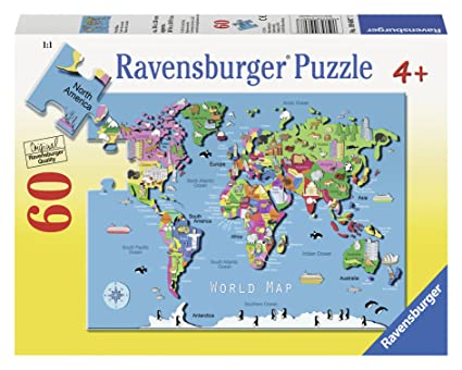 Ravensburger world map jigsaw puzzle copy worldmap1665 amazoncom ravensburger world map puzzle 60 piece gumiabroncs Image collections