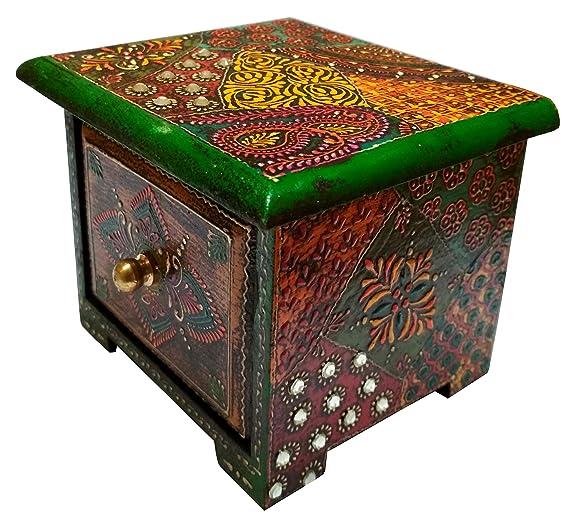 Purpledip Caja de Madera Caja Cuadrada Pintada a Mano con 1 cajón para Joyas o Llaves (11657): Amazon.es: Hogar