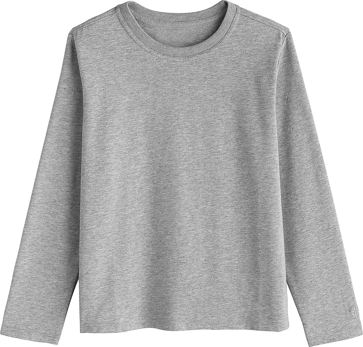 Coolibar UPF 50+ Kids' Long Sleeve Everyday T-Shirt - Sun Protective (Large- Grey Heather)