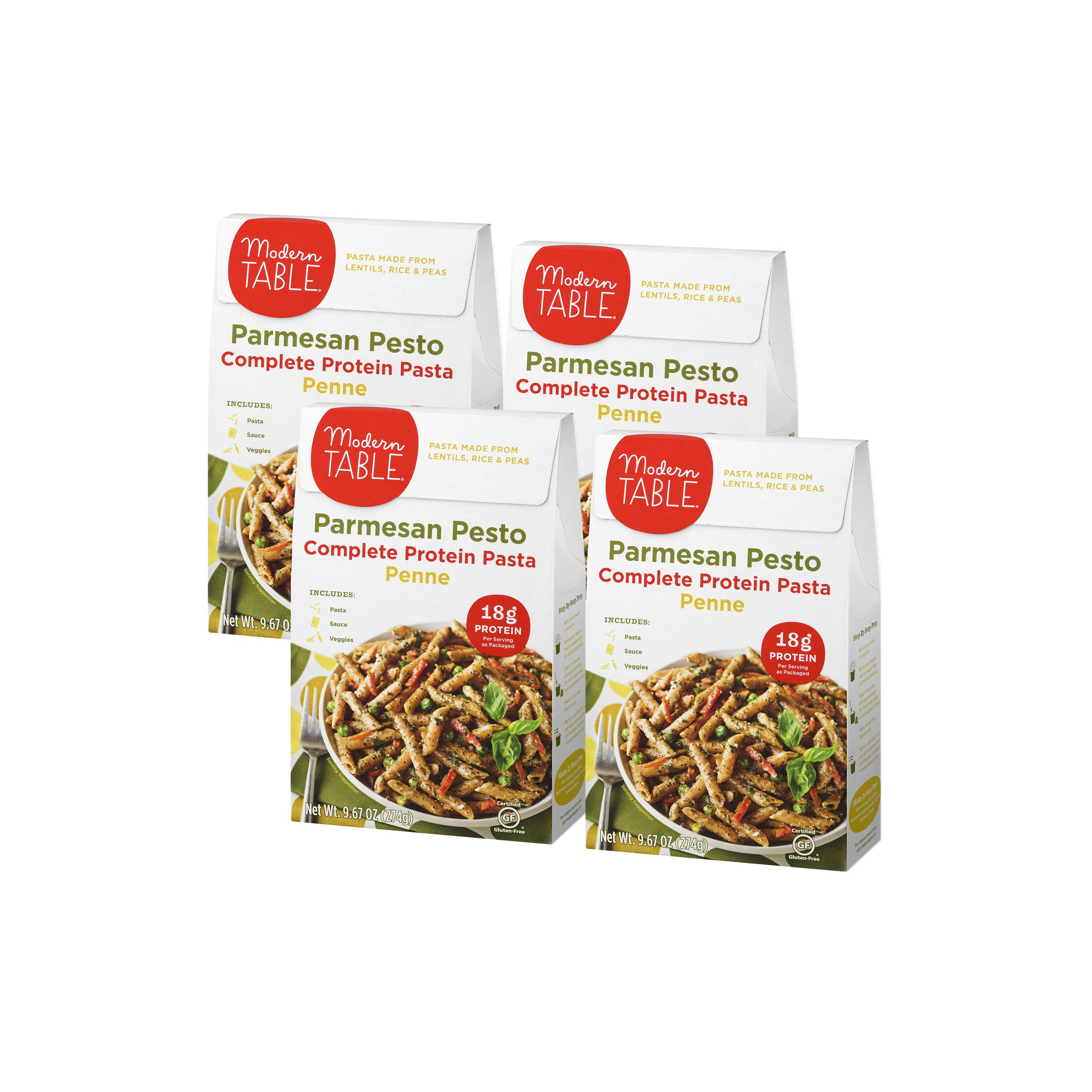 Modern Table Gluten Free, Complete Protein Lentil Pasta Meal Kit, Parmesan Pesto, 4 Count by Modern Table