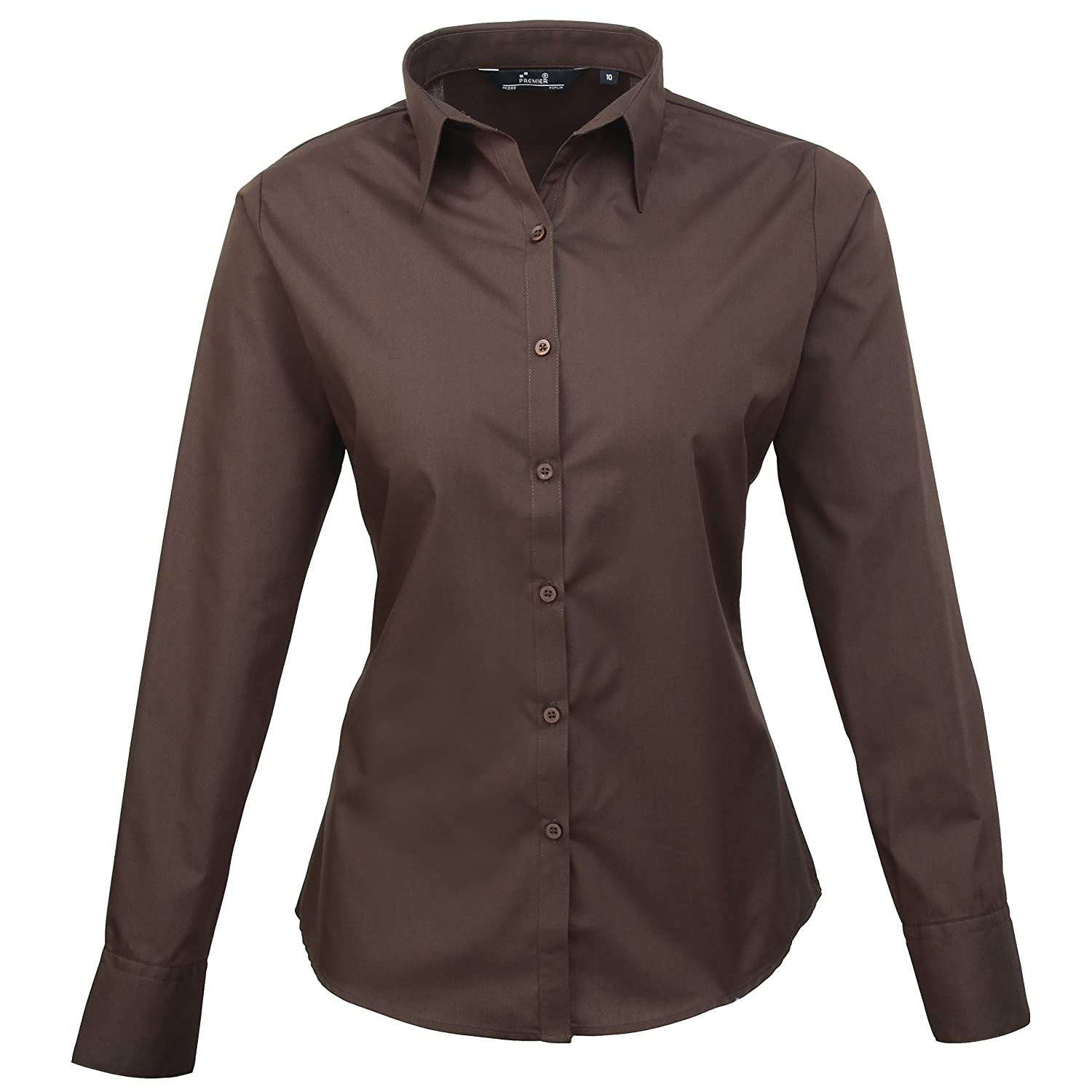Premier Women's Soft Collar Styling Poplin Long Sleeve Blouse Shirts 6-30