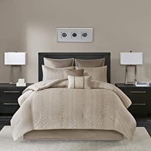 Madison Park Cozy Comforter Set-Trendy Design All Season Down Alternative Luxury Bedding with Matching Shams, Decorative Pillows, Queen(90