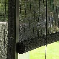 Zwarte Bamboe Rolgordijnen Voor Ramen - Bamboe Buitenzonwering, Semi-privacy Bamboe Gordijn, Voor Tuin/Balkon…