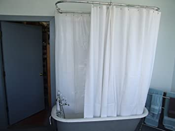 Extra Wide Vinyl Shower Curtain For A Clawfoot Tub/white Less Magnets  180u0026quot; ...