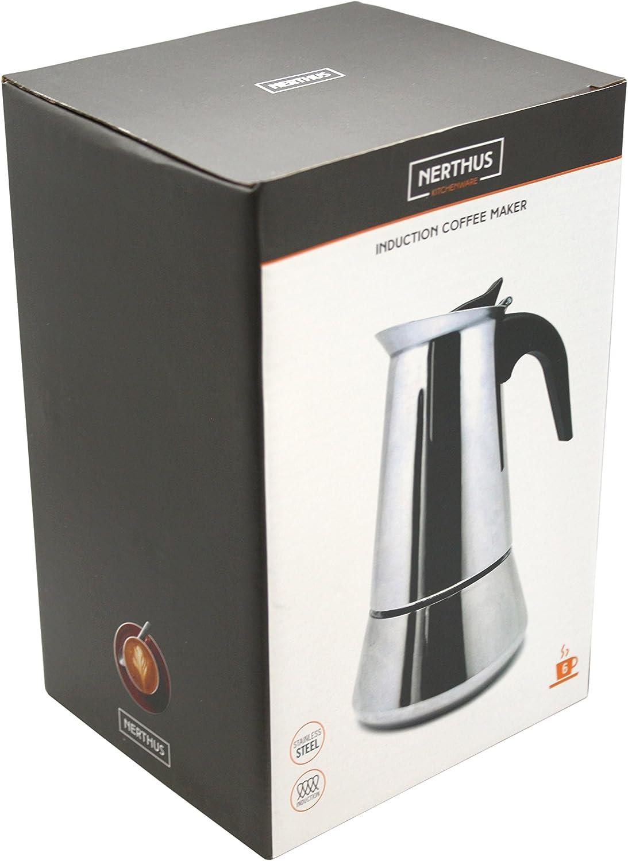 Nerthus FIH 248 Cafetera Inducción 4 Tazas, Acero inoxidable, color Plata: Amazon.es: Hogar