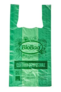 BioBag Compostable Shopping Bags, Regular Size with Handles, 500 Count