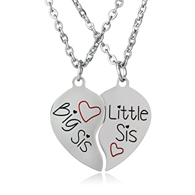 BESPMOSP Big Sis Little Sis Matching Heart Pendant Necklace Sister Best Friend Family Gifts 2nHPNq