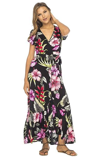 2f98d8c0ca62 Back From Bali Womens Wrap Dress Long Floral Print Deep V Neck Short  Sleeves Boho Maxi