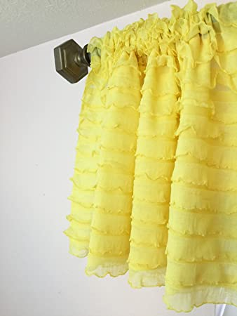 Yellow Ruffle Valance Sheer Extra Wide Window Treatment For Nursery,  Kitchen, Living Room,