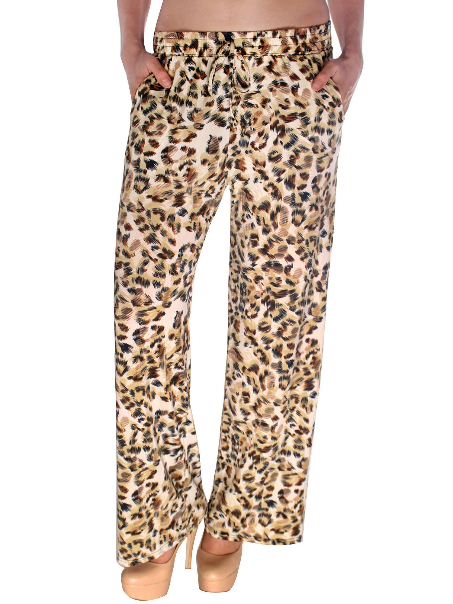 Simplicity Leopard Pattern Print Wide Leg Pants with Drawstring Waistband M