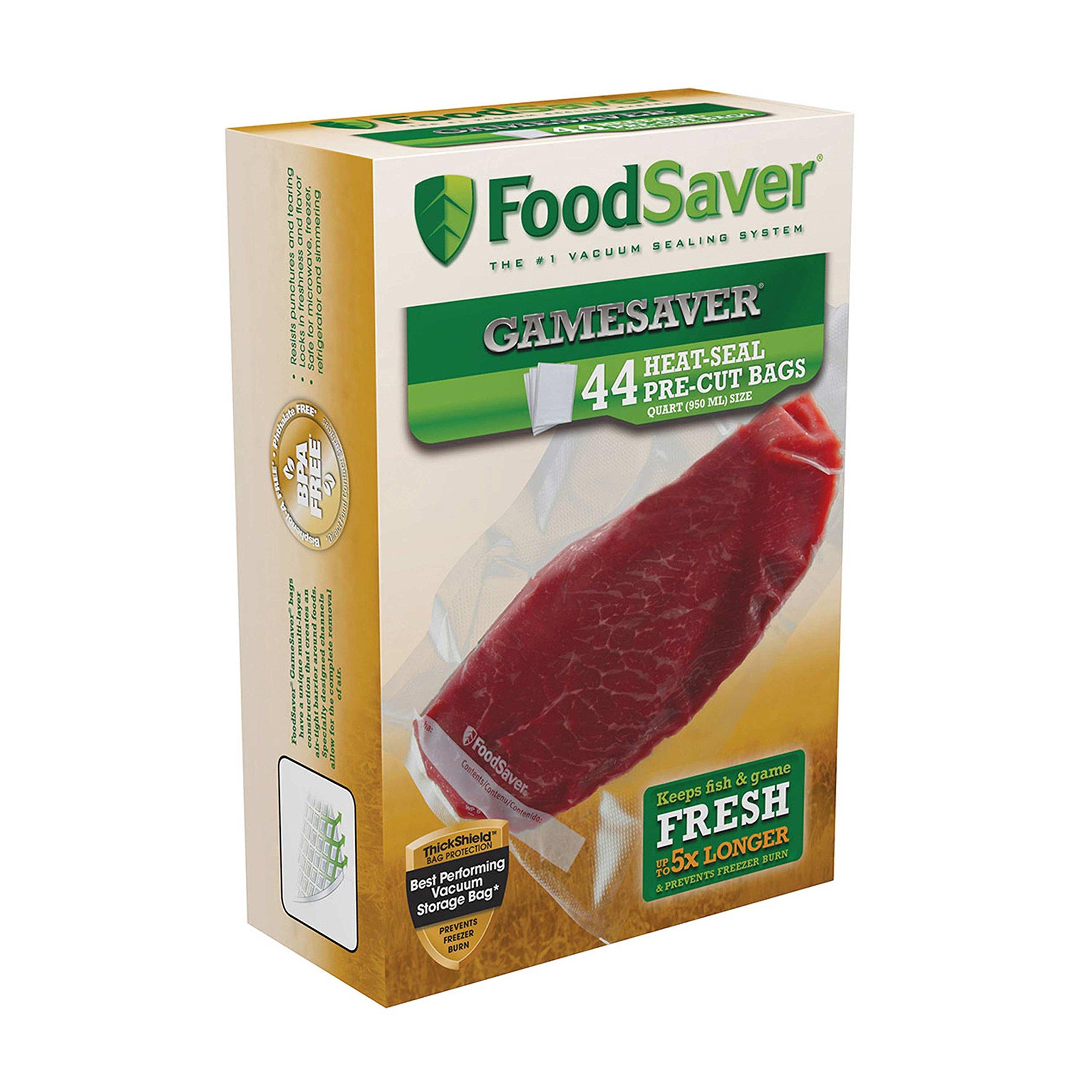 FoodSaver GameSaver 1 Quart Vacuum Seal Bag with BPA-Free Multilayer Construction, 44 Count by FoodSaver
