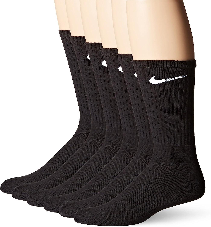 Nike Crew Socks (Performance Cotton Cushioned) 6 Pack Mens Shoe Size 8-12, Black/White, Large