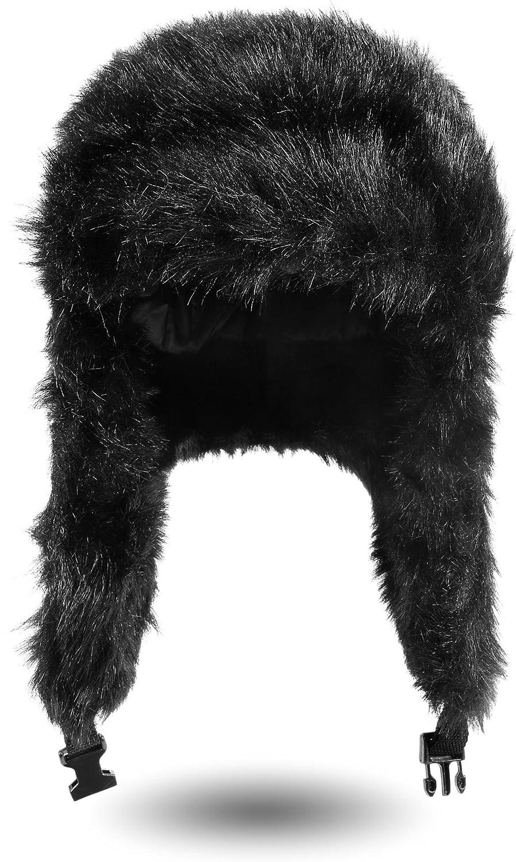Warme Wintermütze / Fellmütze / Pilotenmütze von normani® in Schwarz