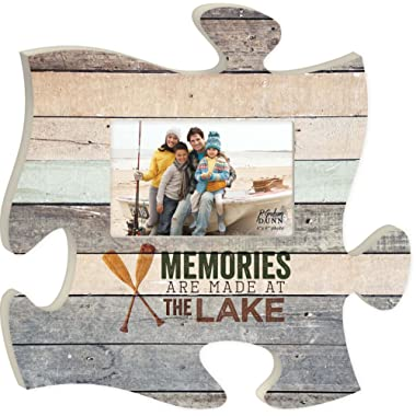 P. GRAHAM DUNN Memories are Made at The Lake Wood Look 12 x 12 Wall Hanging Wood Puzzle Piece Photo Frame