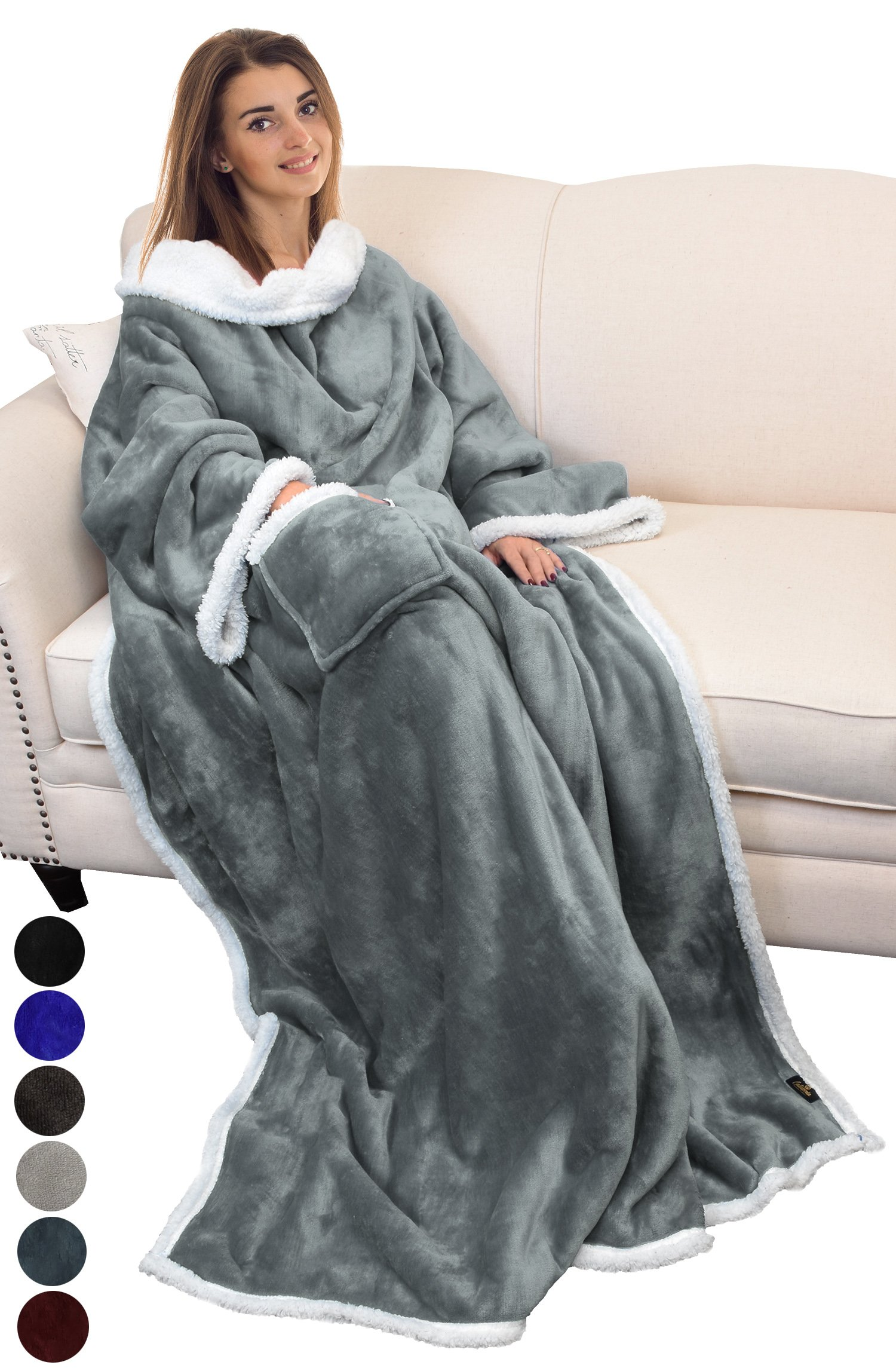 Catalonia Sherpa Wearable Blanket with Sleeves Arms,Super Soft Warm Comfy Large Fleece Plush Sleeved TV Throws Wrap Robe Blanket for Adult Women and Men Grey
