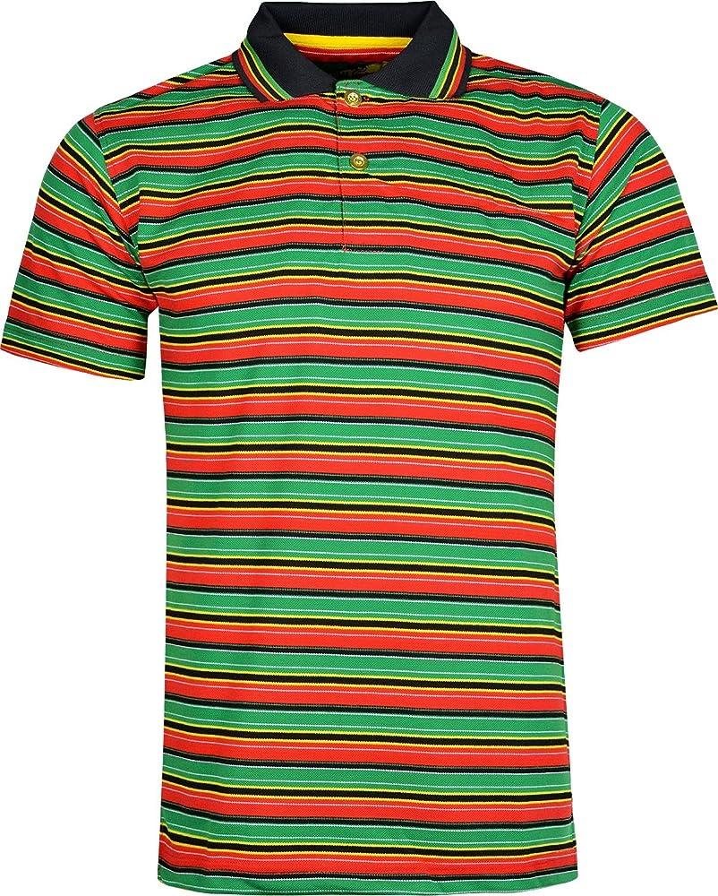 Para hombre Rasta Polo para hombre Thin Striped Polo T Shirt León ...