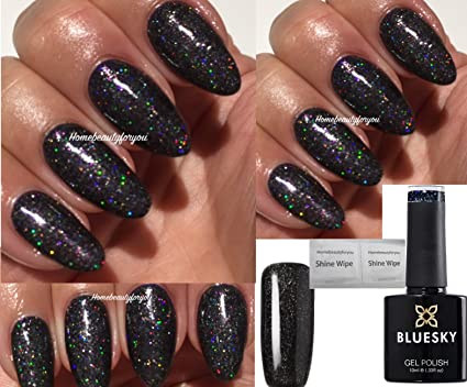 Vernis À Ongles En Gel Black + Multi Brillance À Séchage Par