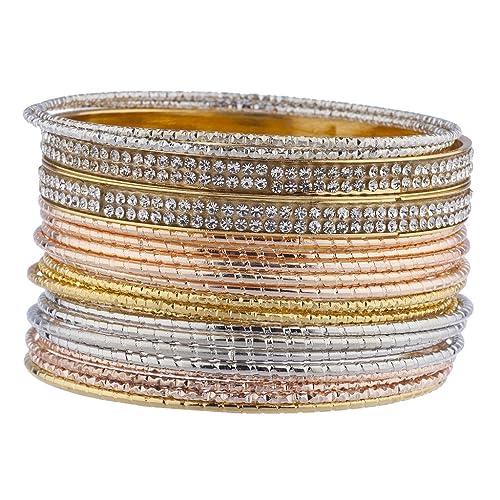 f9a58d69c936 Lux Accessories Set de pulseras tipo brazalete de tres colores distintos  con piedras de cristal.  Amazon.es  Joyería