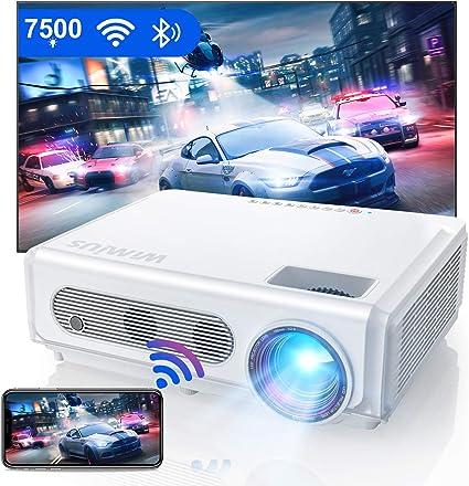 Proyector WiFi Bluetooth 1080P, WiMiUS 7500 Proyector Full HD 1920×1080P Proyector NativoSoporte 4K y Función de Zoom WiFi Proyector Cine en Casa Proyector de Vídeo para iOS/Android/TV Stick/PS4/PC