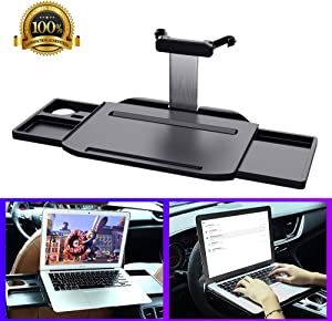 KFZMAN Car Laptop Desk Heavy Duty, Automative Foldable Laptop Mount Tray for Steering Wheel and Backseat, with 2 Extendable Hidden Drawer, Perfect for Dinner, Study, Food/Drink Holder, Travel, Black