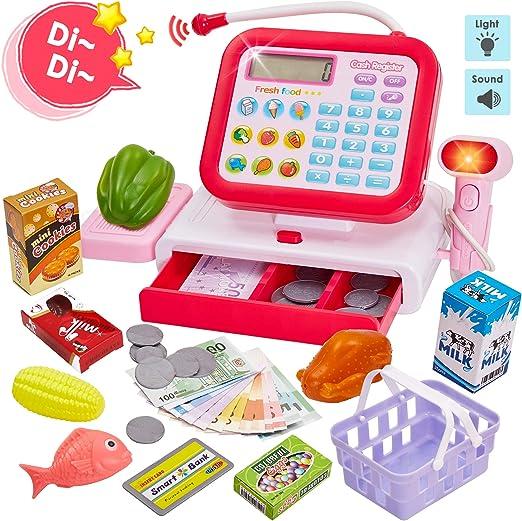 HERSITY Caja Registradora Juguete con Sonido Supermercado Infantil ...