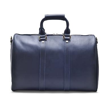 "Hølssen Weekender Duffle Bag (Genuine Leather) Overnight Travel Tote w/15"" Laptop Pocket, Dark Blue"