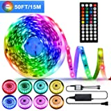 50ft/15M LED Strip Lights Kit,5050 RGB 450D Flexible Non-Waterproof Tape Lights with 24V Power Supply 44Key IR Remote…