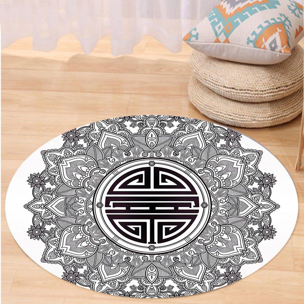 VROSELV Custom carpetMandala Decor Chinese Longevity Luck Health and Good Protection Sign Mandala Icon Image for Bedroom Living Room Dorm Black White Round 72 inches