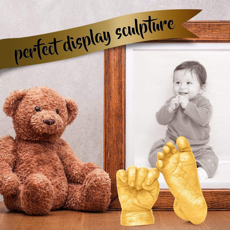 Casting-Kit Chuckle 3D Baby Handabdruck Fu/ßabdruck Gipsabdruck mit Goldfarbe Memento zu behalten F/ür Immer Einzigartige Stilvolle Skulptur f/ür Muttertag Baby-Duschen /& Taufen