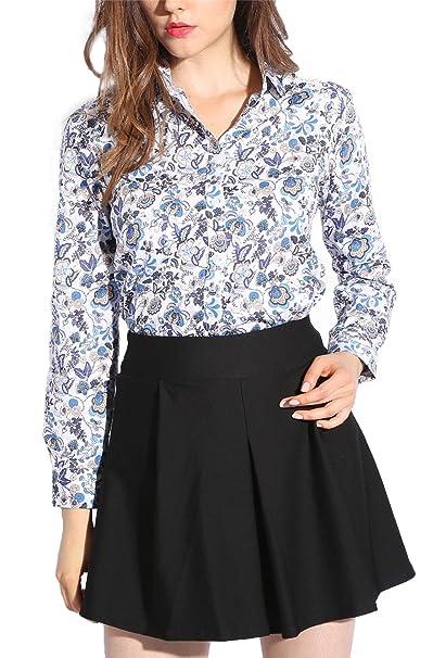 0de50e9a0e1 Dioufond Women s Vintage Floral Blouse Long Sleeve Button Down Shirt(Lable  M-US XS