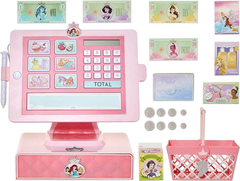 Disney Princess Style Collection Cash Register Shop N Play Market Set - Shopping Basket Included